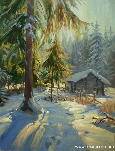 Yagli Boya Kar Manzarasi 2 Winter Painting Cabin Art Winter Landscape