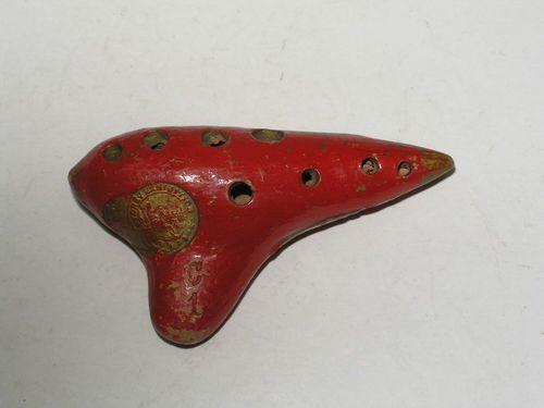 Vintage Peruvian Terracotta Ocarina Flute Musical Instrument