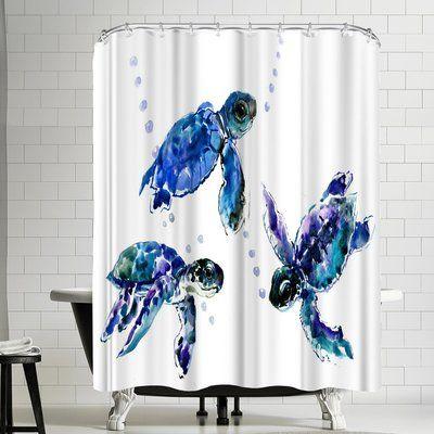 East Urban Home Suren Nersisyan Three Sea Turtles Single Shower Curtain In 2021 Black Shower Curtains Curtains Ocean Bathroom Decor