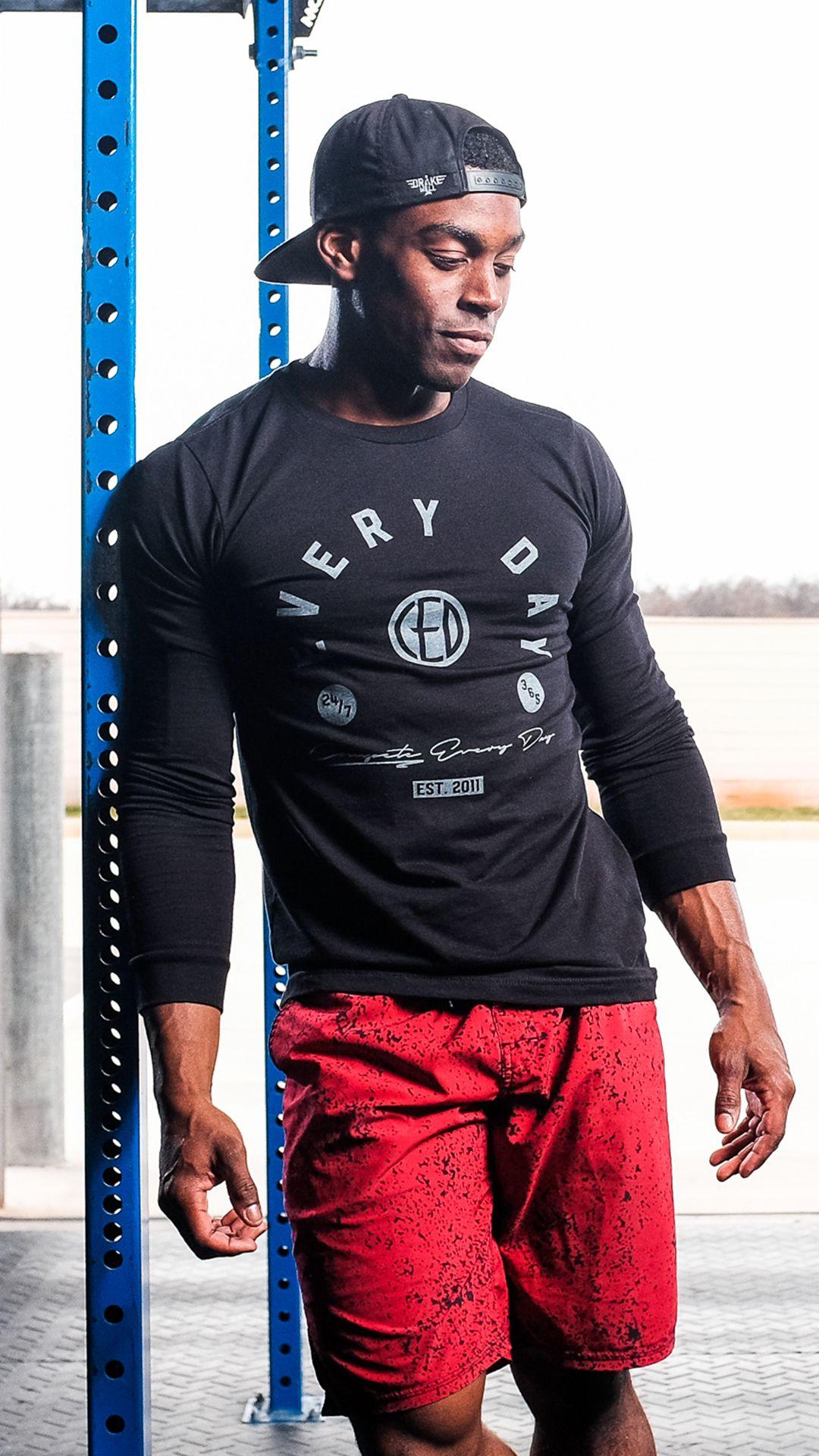 "Unisex Champion longsleeve tshirt & men's ""Heat"" red"
