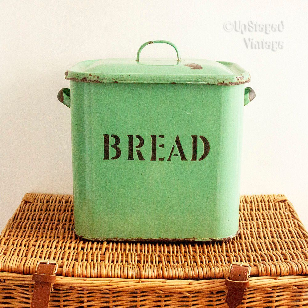 Traditional Vintage Enamel Bread Bin In Green Etsy Rustic British