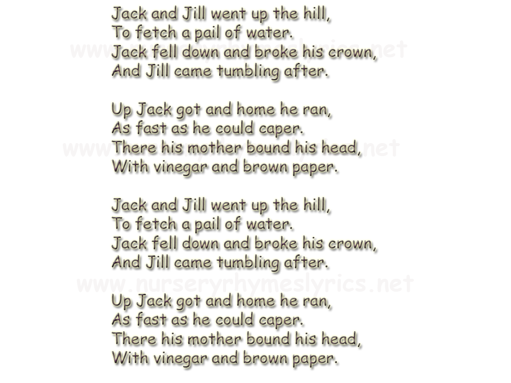 Jack And Jill Nursery Rhymes Lyrics Thenurseries