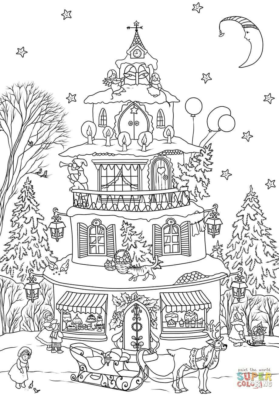 christmas detailed coloring pages | Christmas house... | House colouring pages, Coloring pages ...