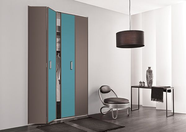 Merveilleux KAZED   Portes De Placard Pliantes Mélaminés Châtaigne Et Turquoise Idees De Conception De Maison