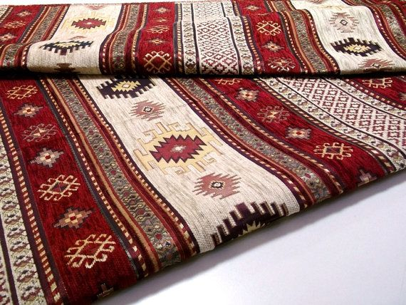 Ethnic Tribal Style Chenille Upholstery Fabric, Aztec Navajo Fabric
