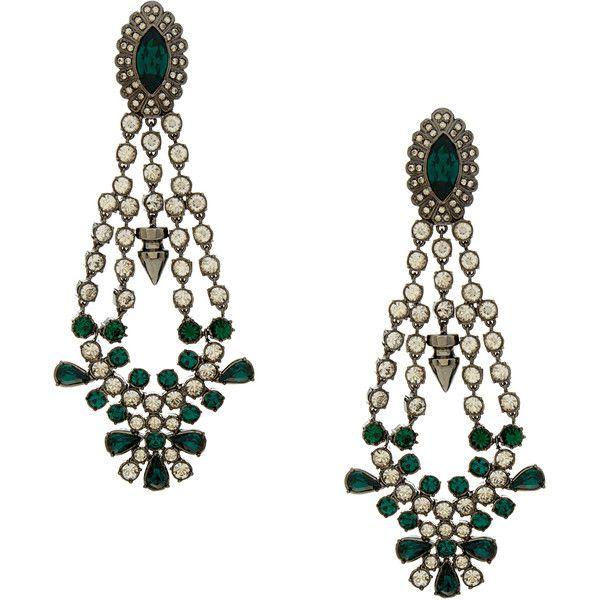 Mawi Silver Crystal Drop Chandelier Earrings (1.750 NOK) ❤ liked on Polyvore featuring jewelry, earrings, silver, clear crystal jewelry, silver jewellery, mawi earrings, crystal jewellery and chandelier earrings