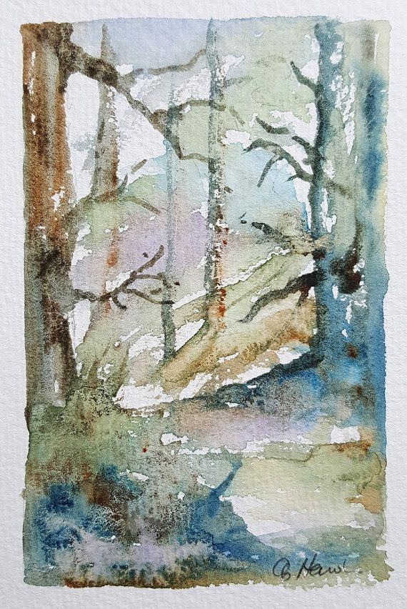 £25 ~ WOODLAND GLEN small watercolour painting by by TheMinervaGallery