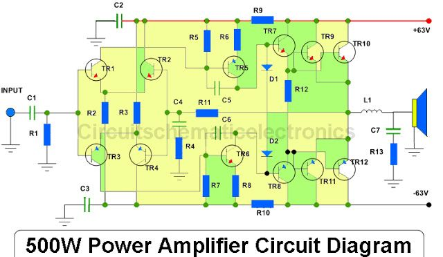 Audio Amplifier Circuit Diagram With Layout 89 Toyota Truck Wiring Diagrams 500 Watts Power Amp Great Installation Of 500w 2sc2922 2sa1216 Pcb Design Hubby Rh Pinterest Com