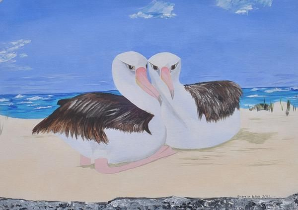 My Partner: I find these birds interesting because they are always huddled together. So I painted them.