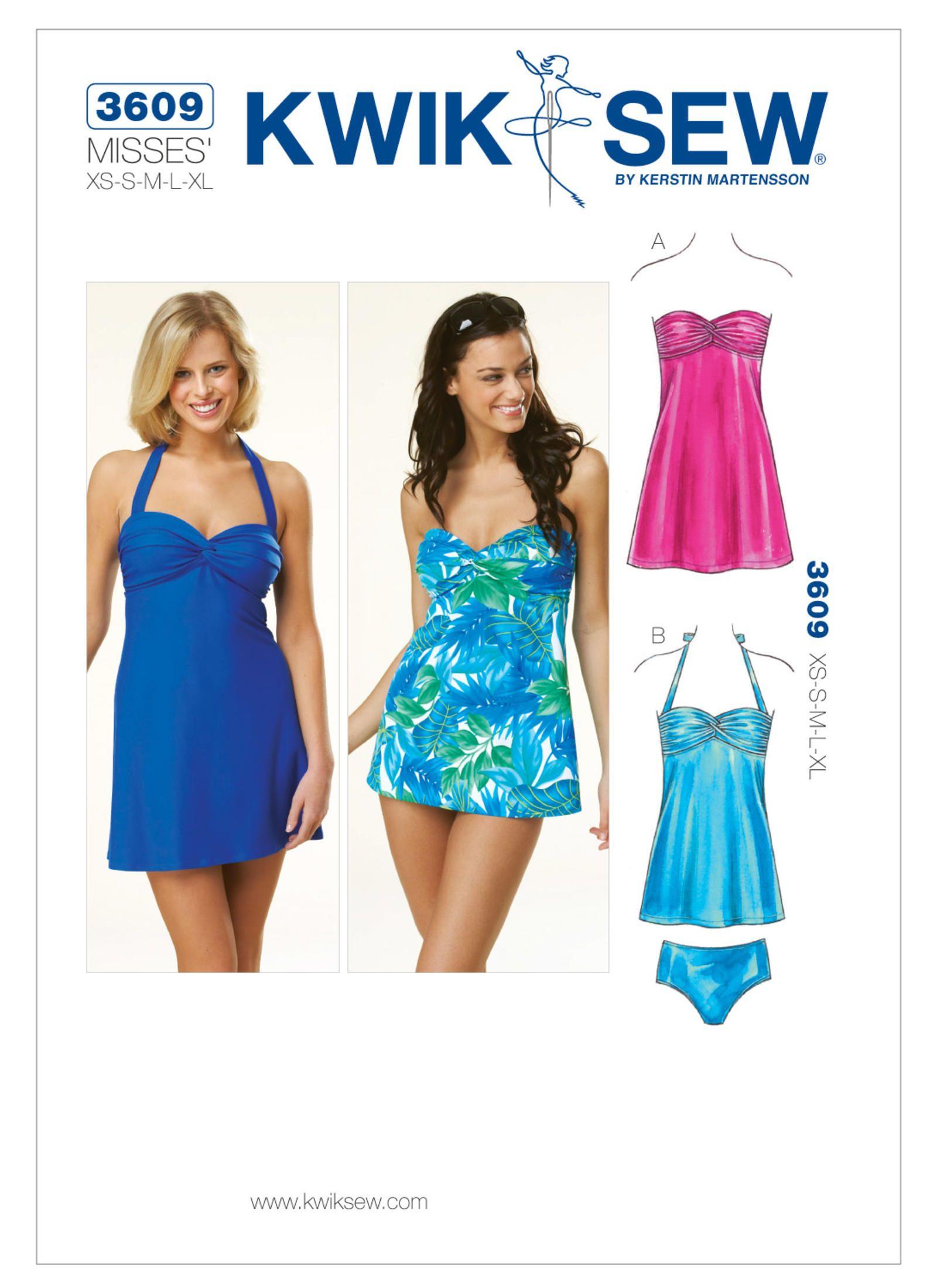 287fb4a7c47da Swimdress/tankini swimsuit sewing pattern. K3609 | Kwik Sew Patterns ...