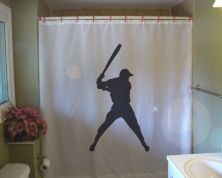 Baseball Swing Shower Curtain Bat Sport Major League Boy Fun