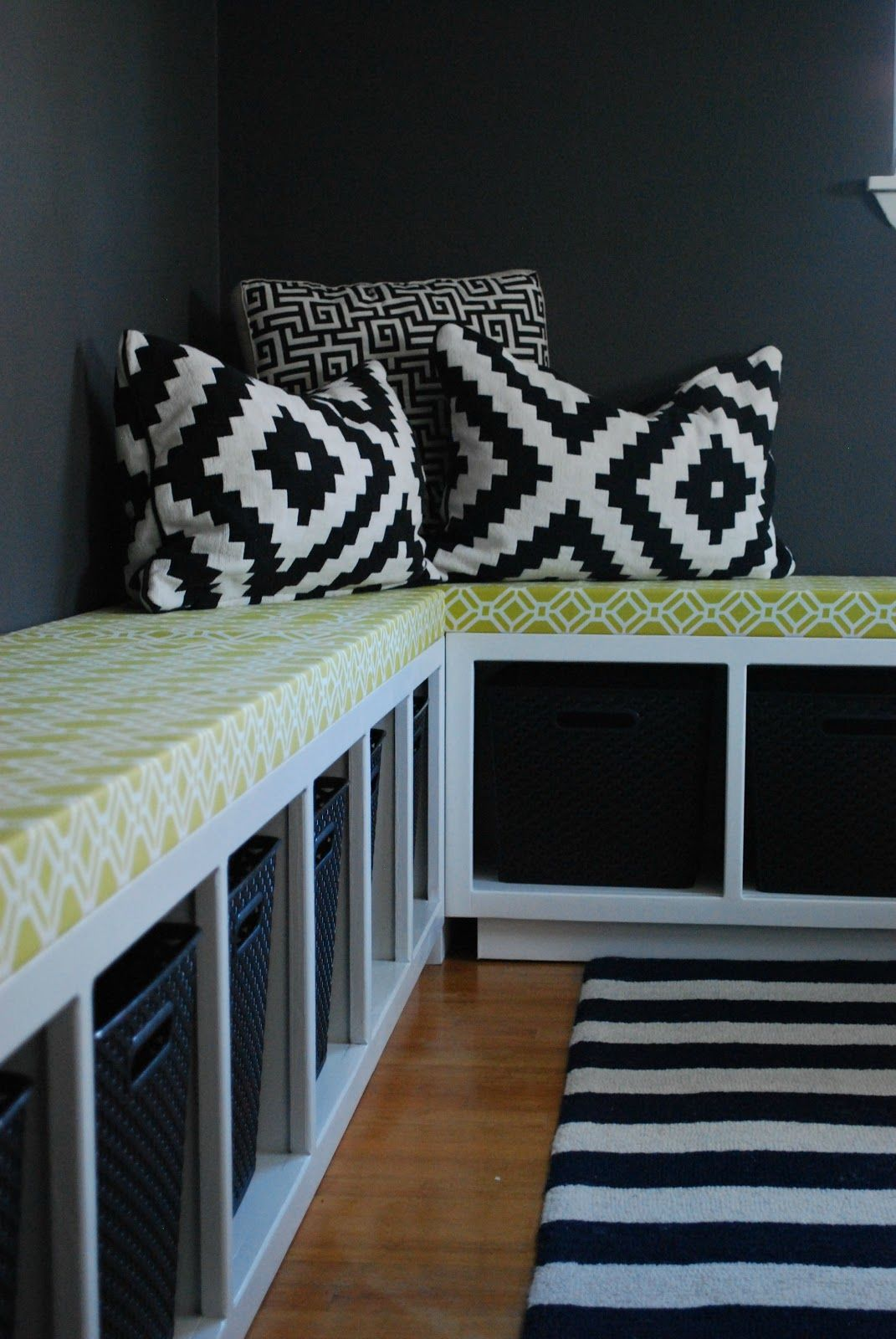 Window seat with bed  diy ikea hack  expedit benches and toy storage  could also use as