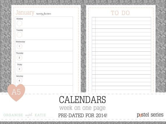 A5 Week on 1 Page 2014 Calendar Printable by OrganiseWithKatie - free printable weekly calendar