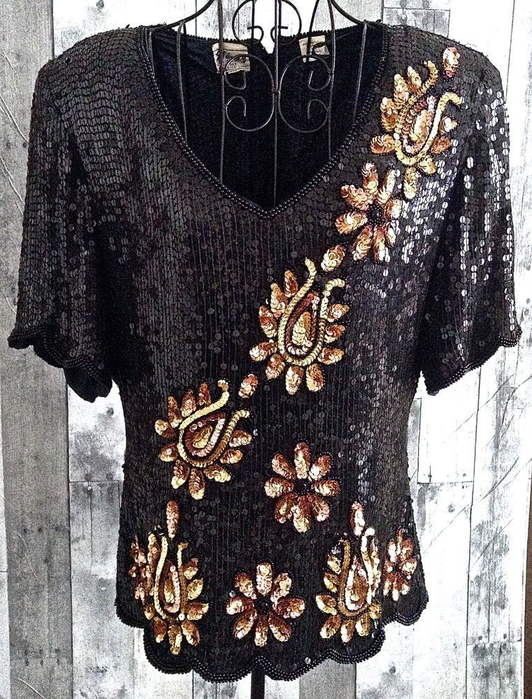 Vintage Stenay Sequin Beaded Top Blouse 100% Silk Black Bronze Fully Lined XL…