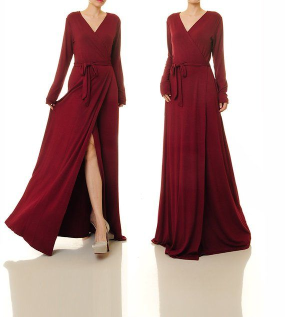 e5dca4fad1b2 Burgundy Wrap Dress