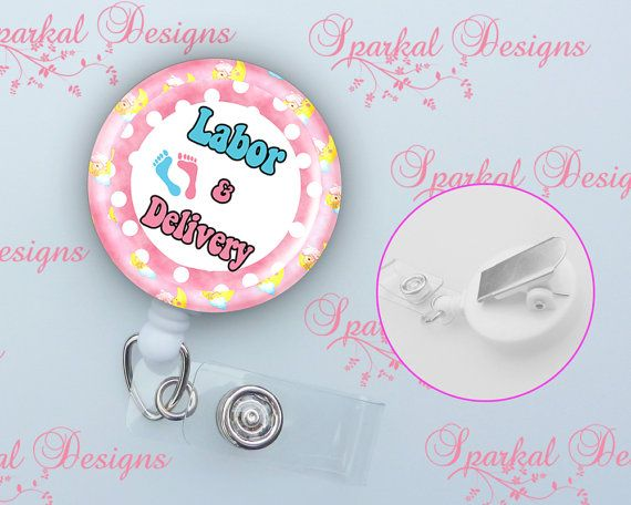 Labor and Delivery Retractable Id Badge Holder by SparkalWine