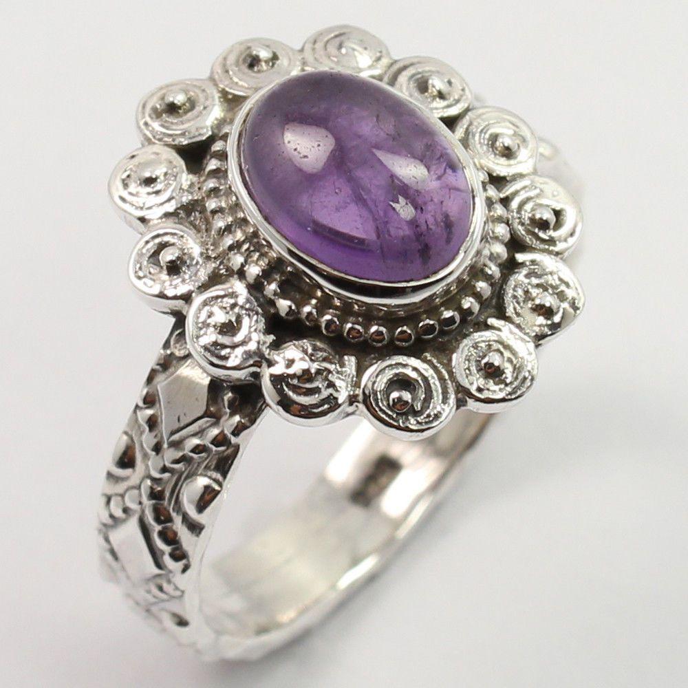 Tribal Art Ring Size US 7.5 Natural AMETHYST Gemstone 925 Solid Sterling Silver #SunriseJewellers