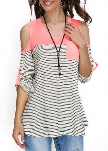bc49b78392b6f Patchwork V Neck Printed Cold Shoulder T Shirt on sale only US 30.64 ...