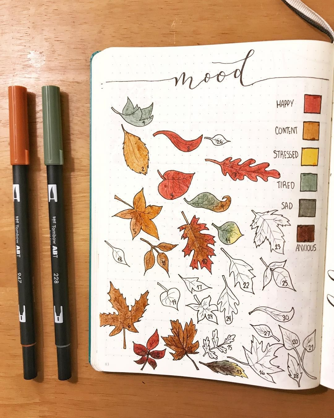 bullet journal mood tracker leaf drawings autumn drawings autumn bullet journal theme mrs. Black Bedroom Furniture Sets. Home Design Ideas