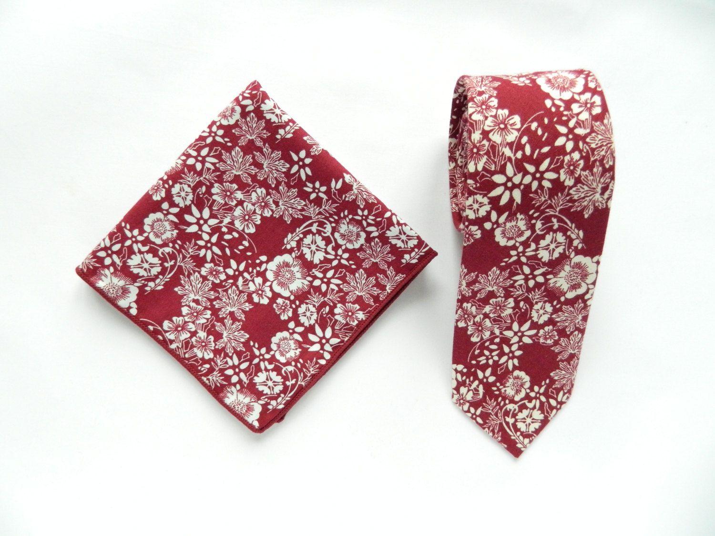 Burgundy floral tie mens floral pocket square wedding tie gift for men skinny tie pocket square groomsmen wedding ties uk by TheStyleHubTrends on Etsy