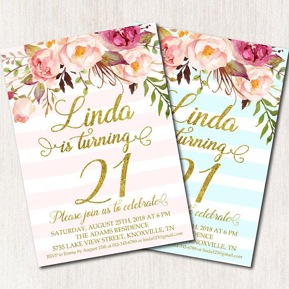 21st Birthday Invitation Twenty First Party Floral Pink Turquoise St