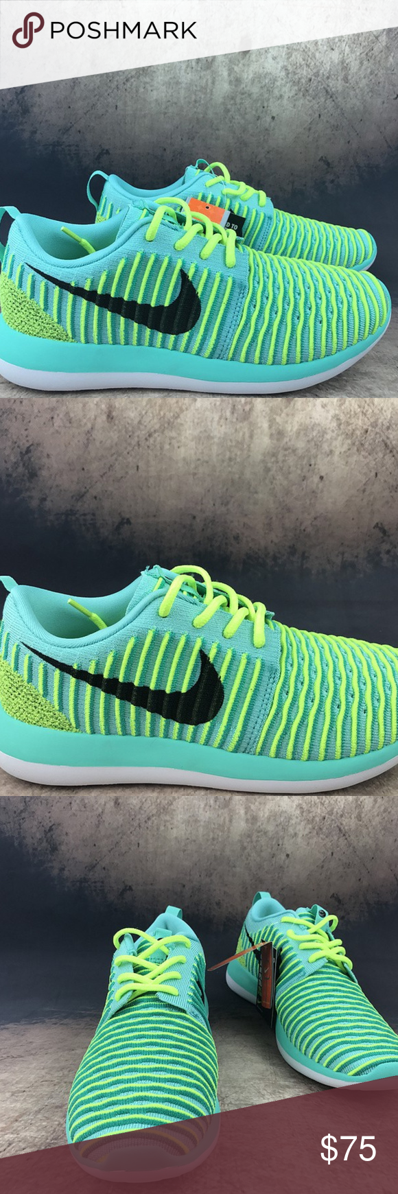 eba5e150ae61 NWT Nike Roshe Two Flyknit Running NWT Nike Roshe Two Flyknit Running Brand  New Size  6.5 Y Color   Hyper Turquoise   Black   Volt   Clear Jade Send me  a ...