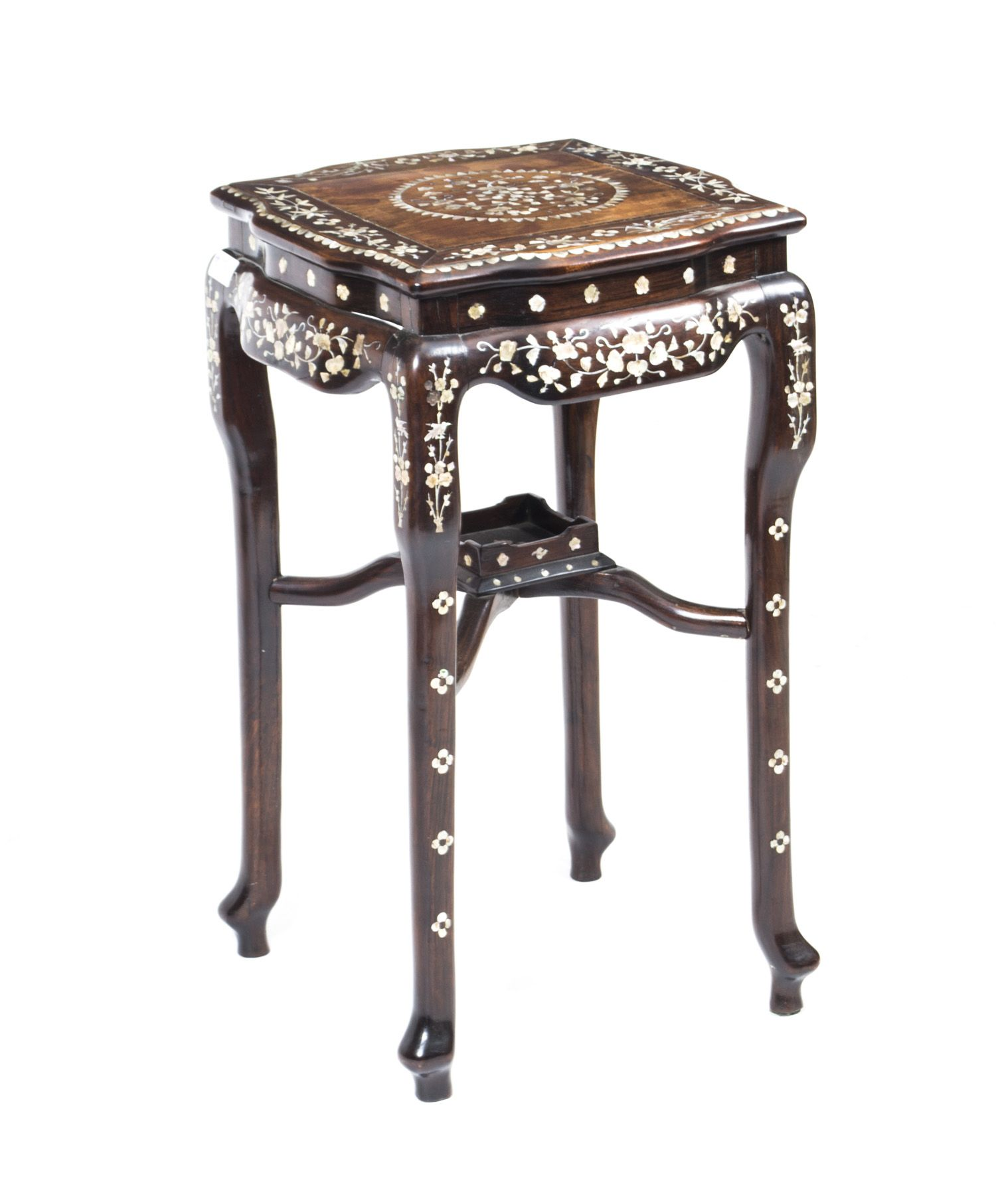 Pedestals And Plant Stands   Antique Chinese Rosewood Mother Pearl Side  Table Stand