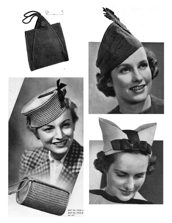 1930s Hats And Bags Accessories In Crochet Book No By Esches 7 95