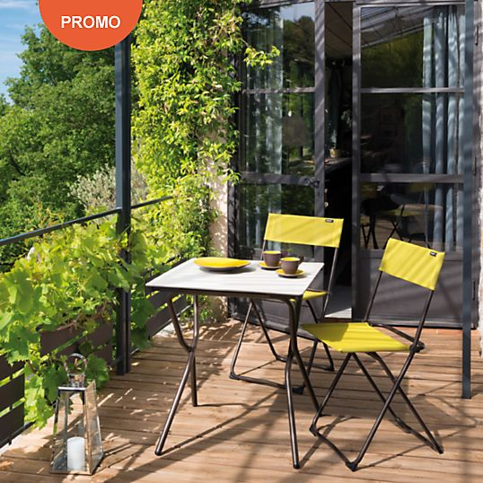 Ensemble Anytime Table et 2 chaises Papageno LAFUMA prix promo Table ...