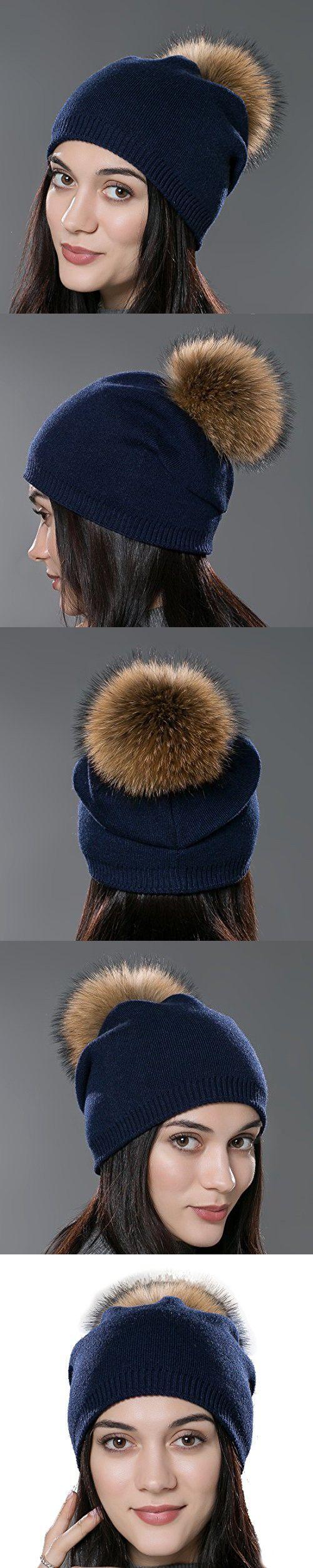 2030d3c5e7466 URSFUR Autumn Unisex Wool Knit Beanie Cap with Fur Ball Pom Pom Winter Hat