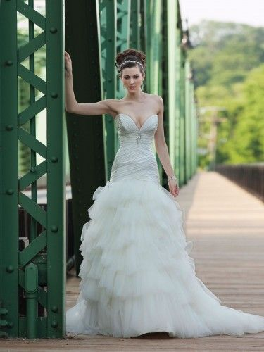 Charmeuse Deep Plunging Sweetheart Ruched Bodice Ball Gown Wedding ...