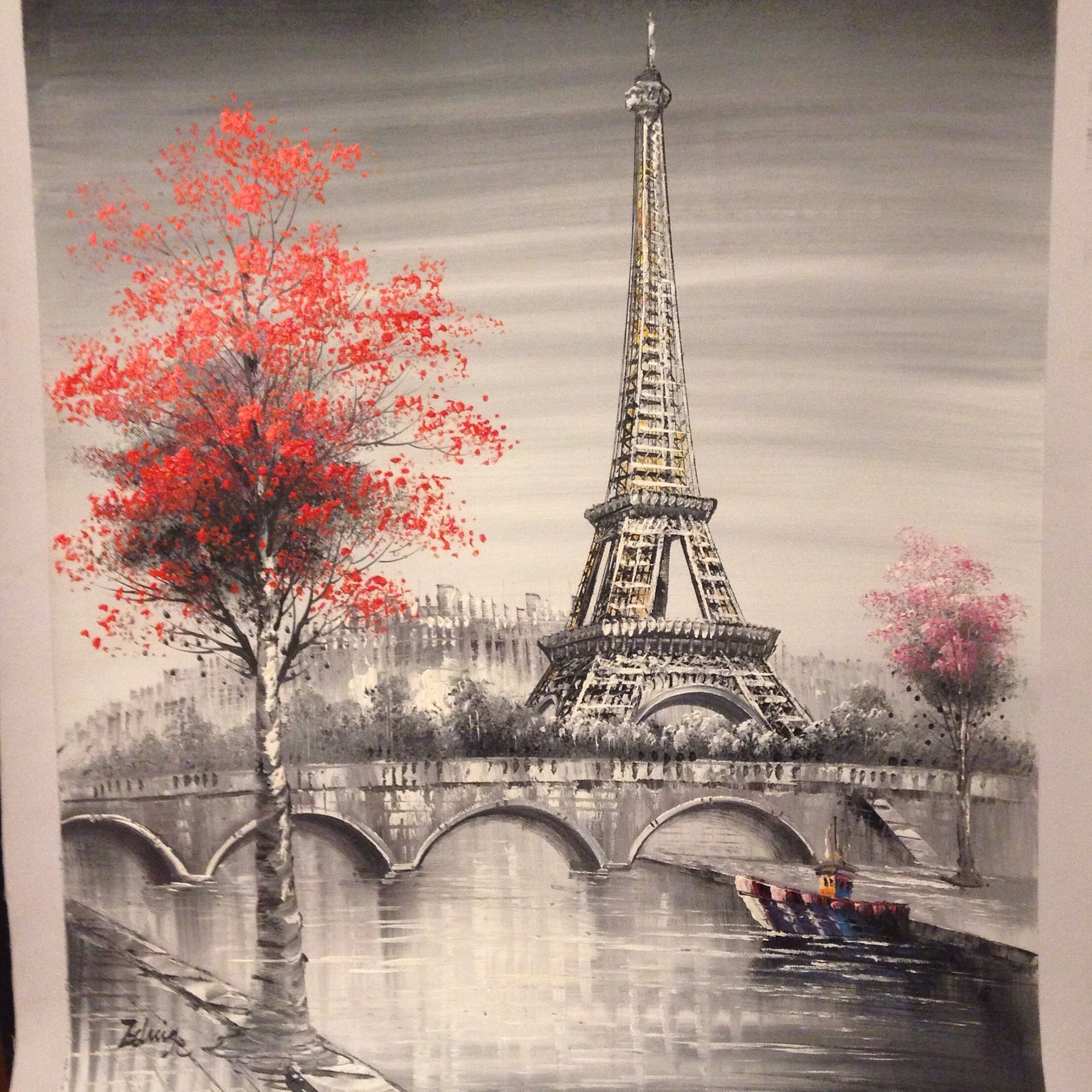 Oil Painting, Paris. european city landscape. France, Wallpaper, eiffel tower. Black, white and pink, Modern art Vinyl Wall Mural – Travel – BuzzTMZ #eiffeltower