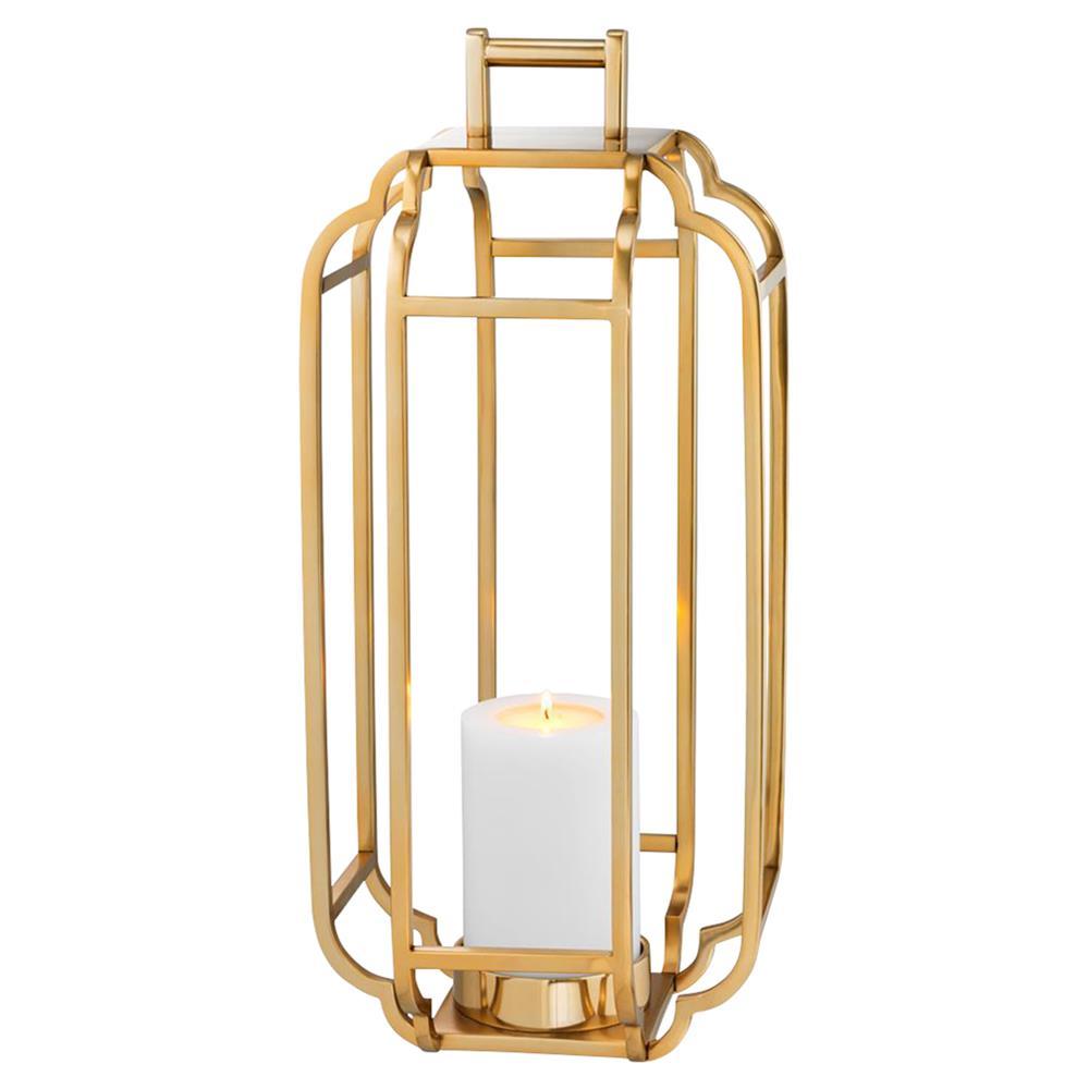 Eichholtz Industrial Loft Palisades Caged Lantern Hurricane Gold Linen Lamp Shades