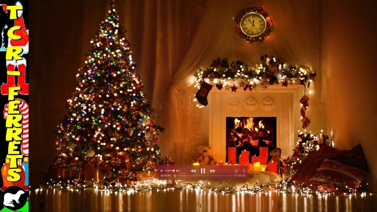 Virtual Fire With Christmas Tree Christmas Tree And Fireplace Christmas Backdrops Christmas Fireplace