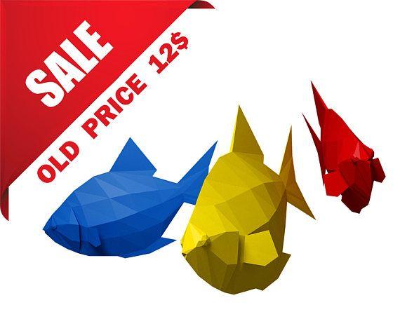 papercraft fish diy 3d pdf template paper craft home decor paper model