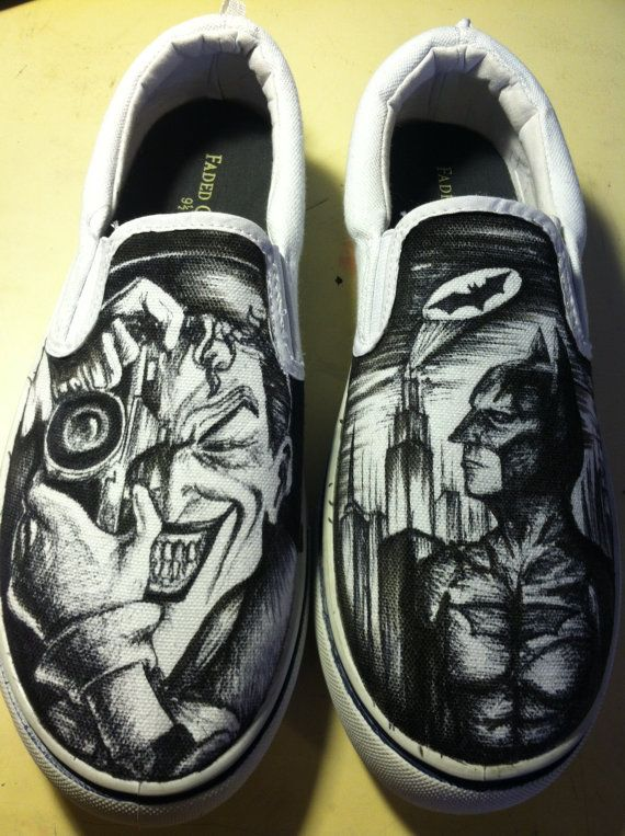 382307b1ad Hand drawn Batman and Joker Shoes by AlzadoCompany on Etsy