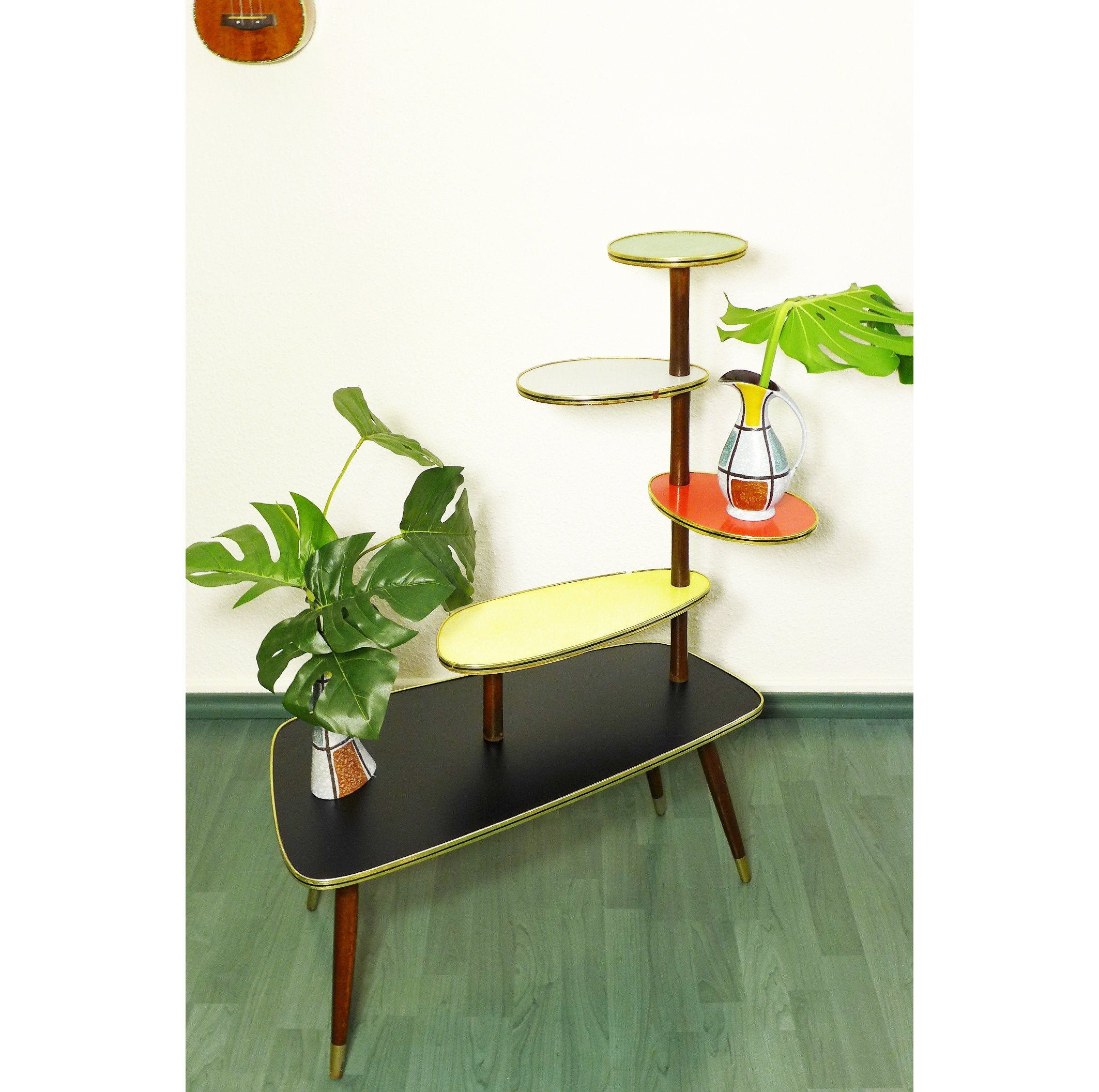Atomic Plant Table Mid Century Formica Table Space Age Table
