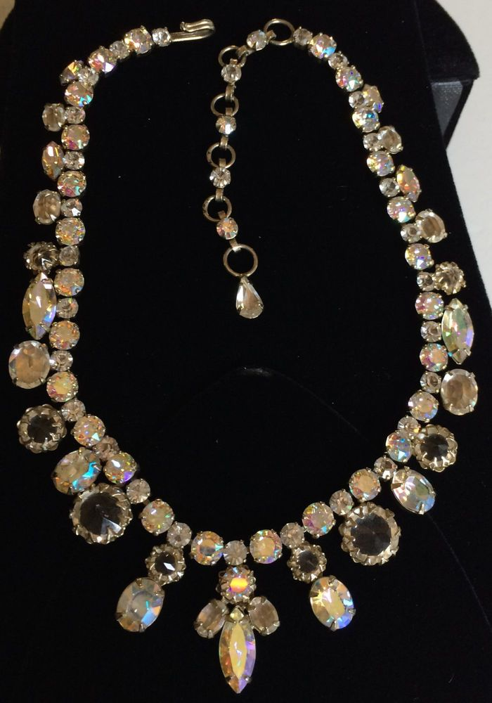 Vintage Schreiner Necklace Clear Glass Aurora Borealis Clear RS Gold Tone Signed | eBay