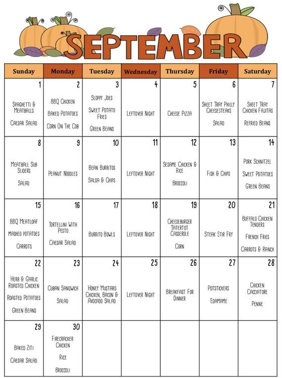 September 2019 Meal Planner, Budget Friendly Month