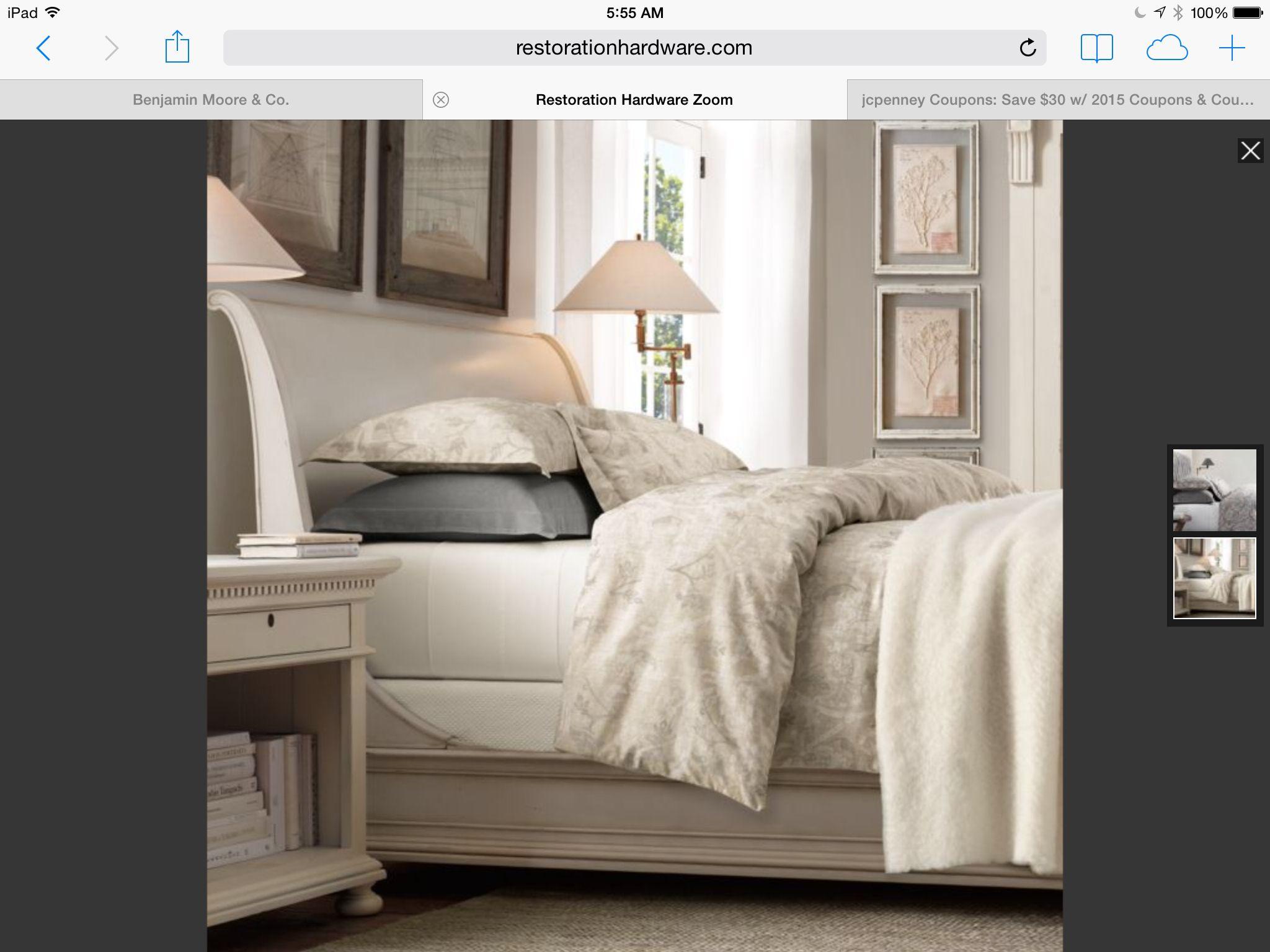 Restoration Hardware. Sleigh beds, Bed, Home decor