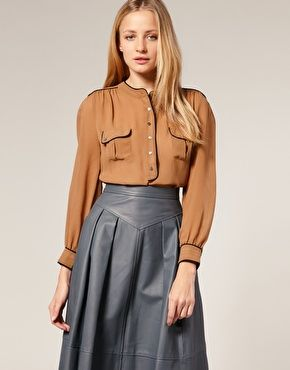 Would love to have this Whistles Piping Blouse on Asos. Love the color and piping details. Reminds me of something Katharine Hepburn could of worn.