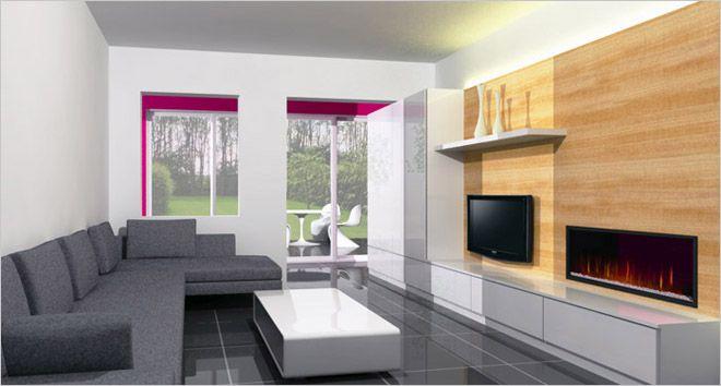 moderne woonkamer met wit tv-meubel - lange lage kast en hoog aan ...