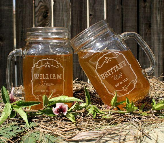 bridal shower gift mason jar wedding rustic toasting glasses mason jars wedding gift set of 2 bride and groom glasses - Mason Jar Glasses