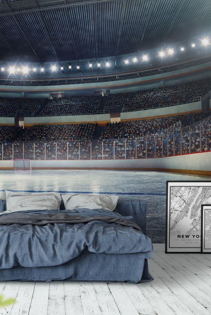 Hockey Arena Wallpaper Boys Hockey Room Boys Hockey Bedroom Hockey Bedroom