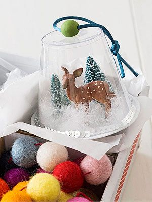 8 Easy Christmas Ornaments including this plastic cup snow globe!