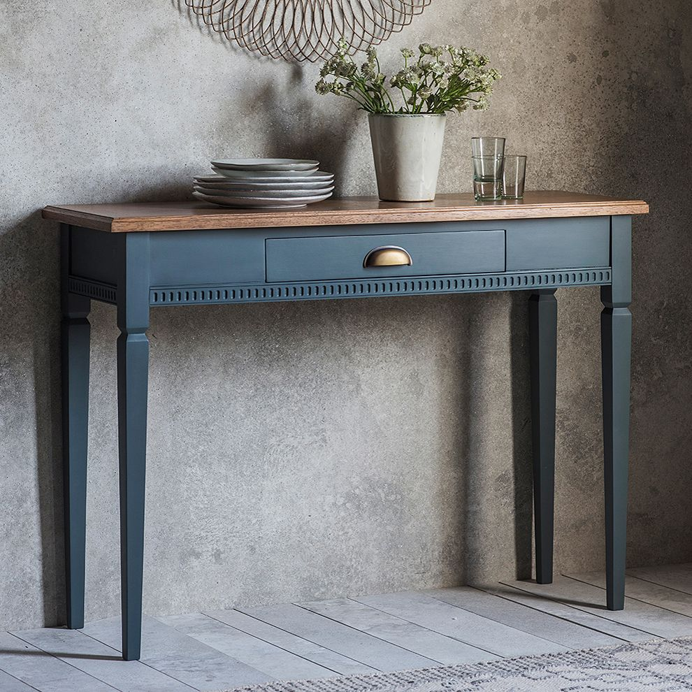 Painted Console Table With Oak Top Midnight Wooden Console Table Wooden Console Oak Console Table