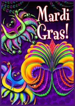 Exceptional Happy Mardi Gras Garden Flag   Fly Me Flag