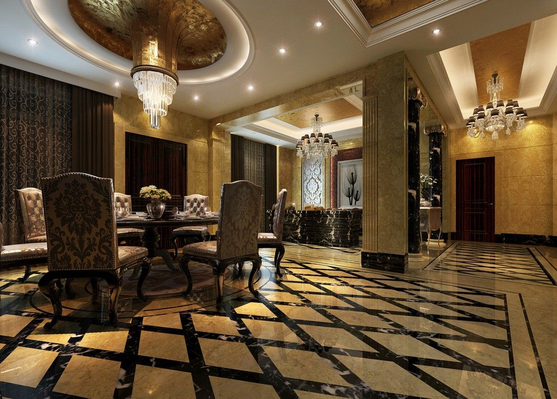 Luxury Mansion Dining Room  Luxury Villa Interior Lighting And Impressive Mansion Dining Rooms Design Decoration