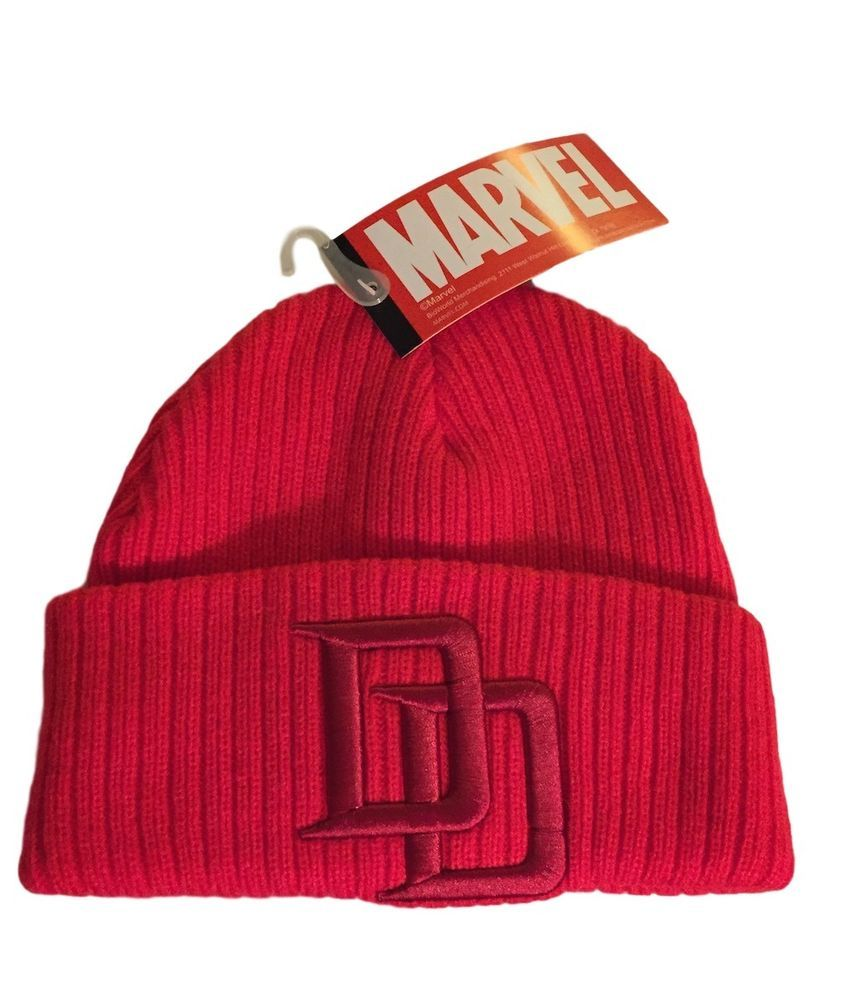 c398c361ee2 Marvel Daredevil Embossed Embroidered Logo Cuff Beanie Knit Red Cap  Marvel   Beanie