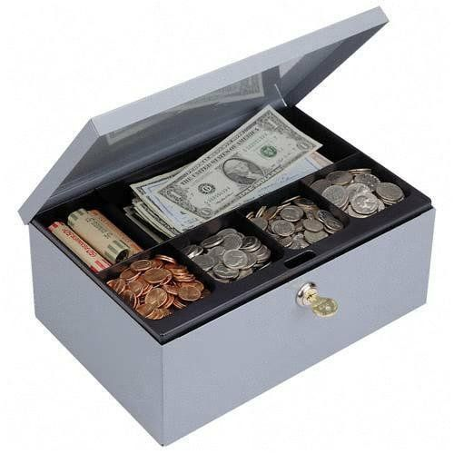 STEELMASTER Cash Box with Safety Lock, Comes with Keys, eleven.twenty five x four.38 x seven.5 Inches, Grey (221618201)
